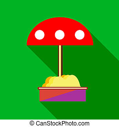 Childrens sandbox with red umbrella icon - icon in flat...