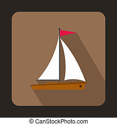 Yacht icon in flat style - icon in flat style on a brown...