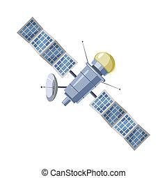 tierra, satélite, Sputnik, icono, caricatura, estilo