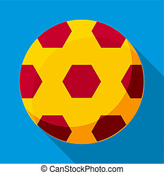 Soccer ball icon, flat style - Soccer ball icon in flat...
