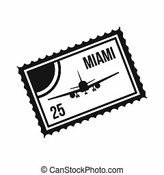 Stamp with plane and text Miami inside icon in simple style...