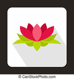 Lotus flower icon, flat style - icon in flat style on a...