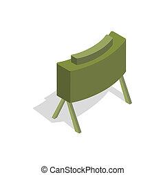 isometric, estilo, mina, militar, ícone,  3D