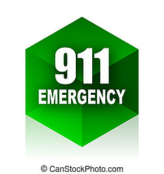 number emergency 911 cube icon, green modern design web...
