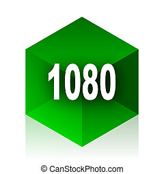 1080 cube icon, green modern design web element