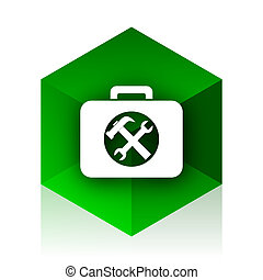 toolkit cube icon, green modern design web element