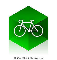 bicycle cube icon, green modern design web element
