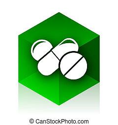 medicine cube icon, green modern design web element
