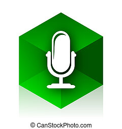 microphone cube icon, green modern design web element