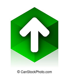 up arrow cube icon, green modern design web element