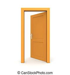 otwarty, jednorazowy, pomarańcza, drzwi