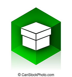 box cube icon, green modern design web element