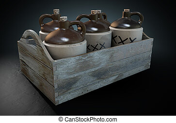Moonshine In Wooden Crate - A 3D render of a collection of...