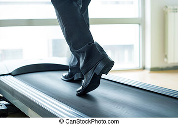 Businessman training in gym