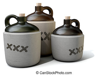 Moonshine Jug - A 3D render of a collection of three vintage...