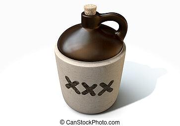 Moonshine Jug - A 3D render of a vintage moonshine jug on an...