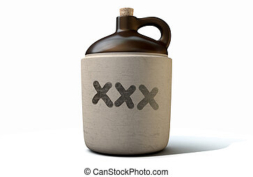 Moonshine Jug - A 3D render of a vintage moonshine jug on an...