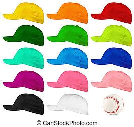 baseball cap side view set - Set of colorful baseball caps