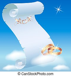 Card with wedding rings in heaven and parchment scroll on...
