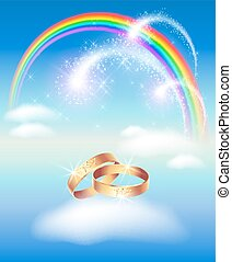 Card with wedding rings in heaven with rainbow and fireworks...