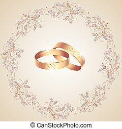 Card with wedding rings and floral ornament frame