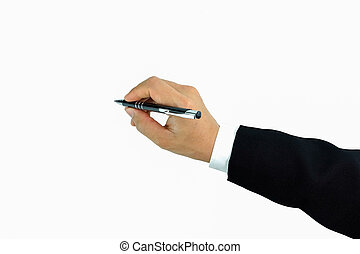 hand pen top view Writing on white background