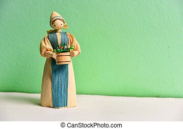 Isolated Corn Husk Doll - Isolated corn husk doll on mint...