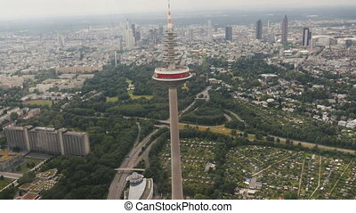 former television tower in Frankfurt aerial shot - aerial...