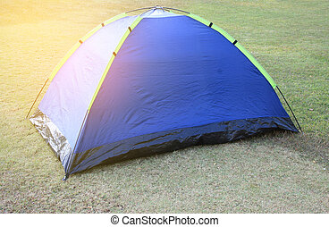 Tent camping in Garden with burst light