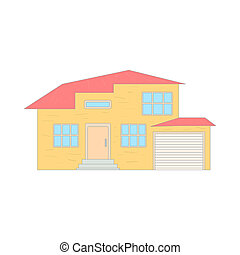 Two storey house with a garage icon, cartoon style - icon in...