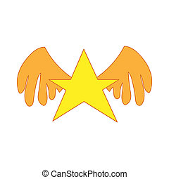 Gold star with wings icon, cartoon style - icon in cartoon...
