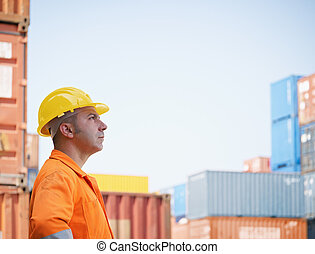 industrial worker in warehouse - portrait of mid adult...