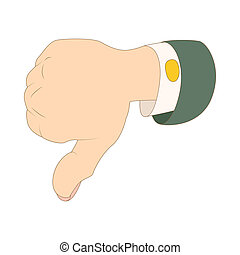 Thumb down dislike icon, cartoon style - Thumb down dislike...