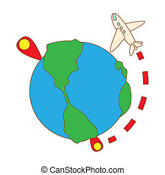 Travelling by plane around the world icon - icon in cartoon...