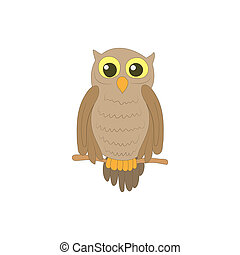 Halloween owl icon in cartoon style - icon in cartoon style...