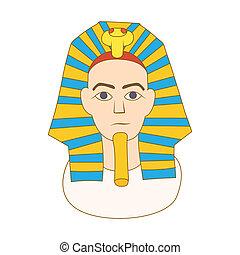 Egyptian pharaoh icon, cartoon style - icon in cartoon style...