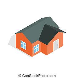 スタイル, 家, 等大, オレンジ, アイコン, 3D