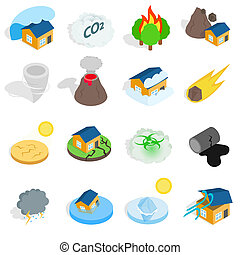 Natural disaster catastrophe icons set in isometric 3d style...