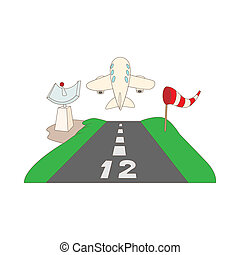 Airstrip with airplane icon, cartoon style - icon in cartoon...