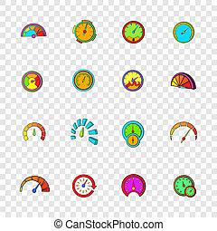 Speedometer icons set, pop-art style - Speedometer icons set...