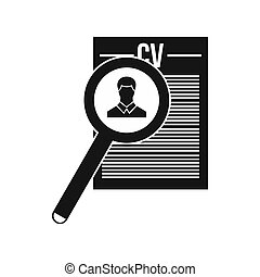 Magnifying glass over curriculum vita icon