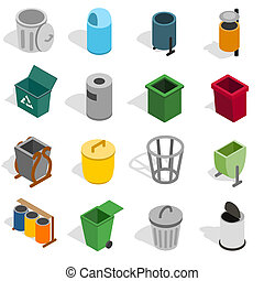 Trash bin icons set, isometric 3d style - Trash bin icons...
