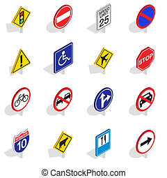 Road Sign icons set, isometric 3d style - Road Sign icons...