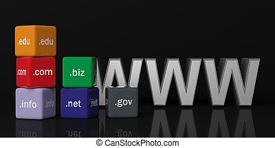 3d rendering cubes with domain names on a black background -...