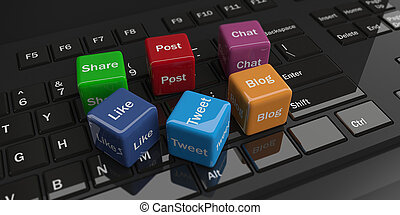 3d rendering cubes with social media words on a keyboard -...