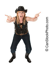 Funny cowgirl with hat and boots on white background