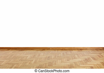 Wooden floor and white wall backdrop