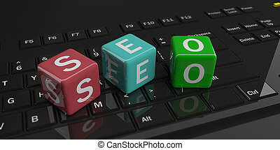 3d rendering cubes, word seo on a keyboard