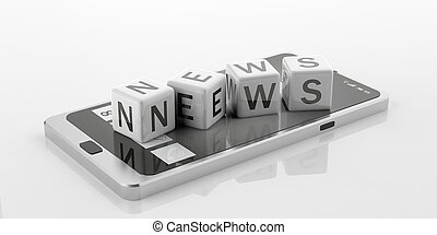 3d rendering cubes with word news on a smart phone