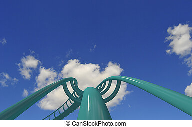 rollercoaster - taking off with rollercoaster high up in the...